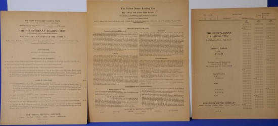 Psychological Test with Answer Booklet and Directions, The Nelson