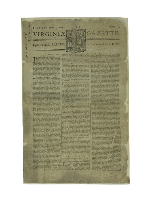 "image for ""The Virginia Gazette"" Newspaper"