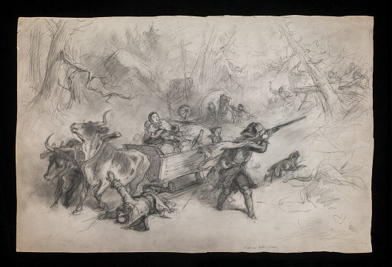 Wagon Train Fighting off an Indian Attack | Smithsonian Institution