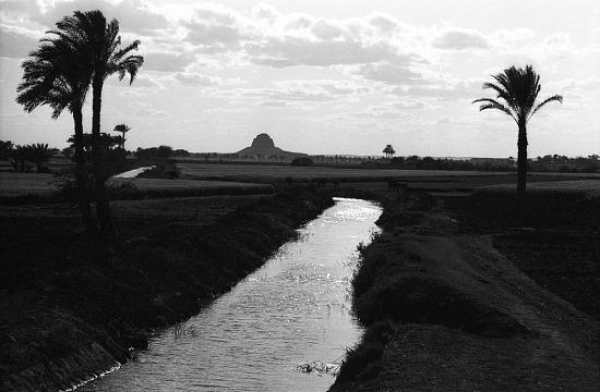 image for Agricultural landscape around King Sneferu's pyramid. Meidum Pyramid, Egypt, negative