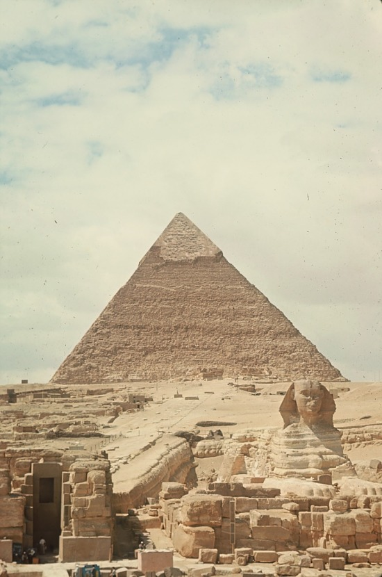 image for The Great Sphinx before the pyramid of Khafre, Pyramids of Giza, Egypt, slide