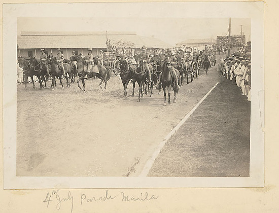 image for U S Soldiers in Uniform During July Fourth Parade; Spectators Along Road 04 JUL 1904