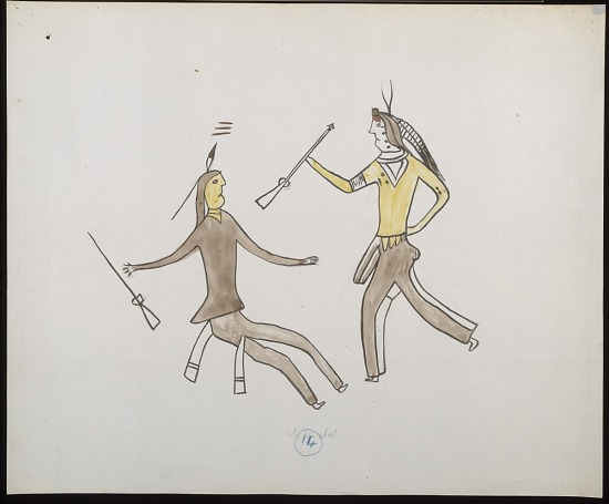 Facsimile Of Bloody Knife Drawing Of Battle Scene With