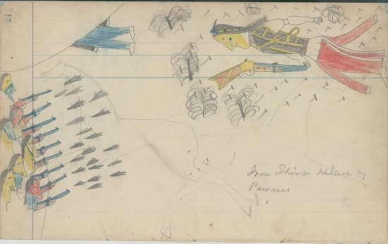 image for Anonymous Cheyenne drawing of Iron Shirt killed by Pawnee warriors in battle, over faint drawing of horses, ca. 1880s
