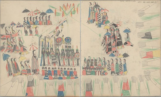 image for Anonymous Cheyenne drawing of Sun Dance ceremony, ca. 1875-1878