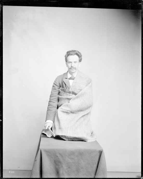 "image for Franz Boas posing for figure in USNM exhibit entitled ""Hamats'a coming out of secret room"" 1895 or before"