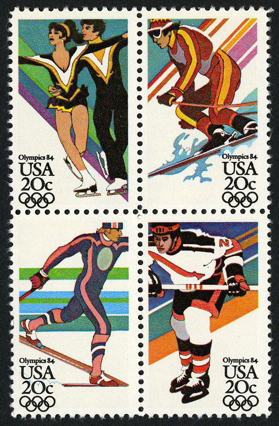 image for 20c Fourteenth Winter Olympic Games block of four