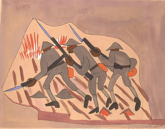 image for War Scene--Three Soldiers with Bayonnets