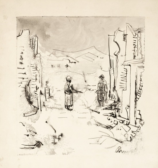 image for Untitled (War Scene, Soldier with Machine Gun and Enemy Soldier)