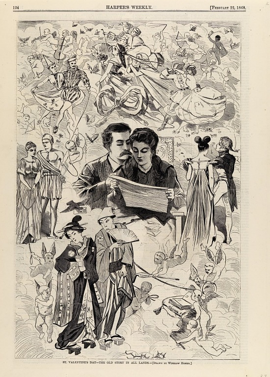 image for St. Valentine's Day--The Old Story in All Lands, from Harper's Weekly, February 22, 1868