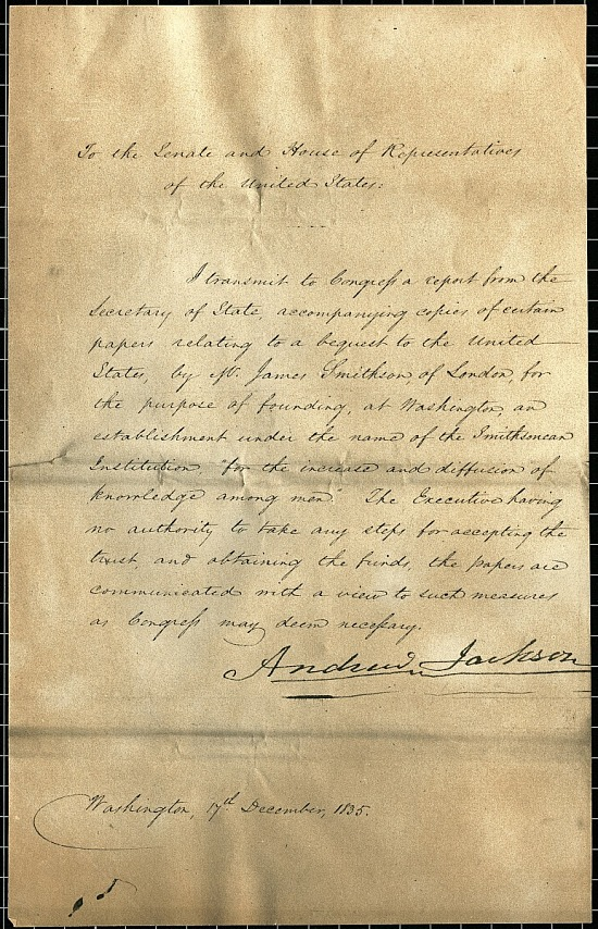 image for Andrew Jackson's Letter to Congress Regarding the Smithson Bequest