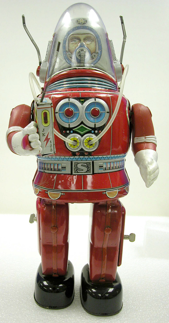 image for Toy, Tin Toy, Robot, Astronaut, Rosko, Red