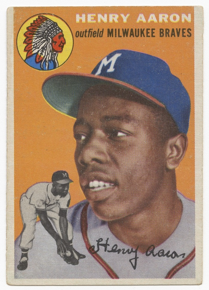Baseball card for Hank Aaron in his rookie year   National Museum of  African American History and Culture