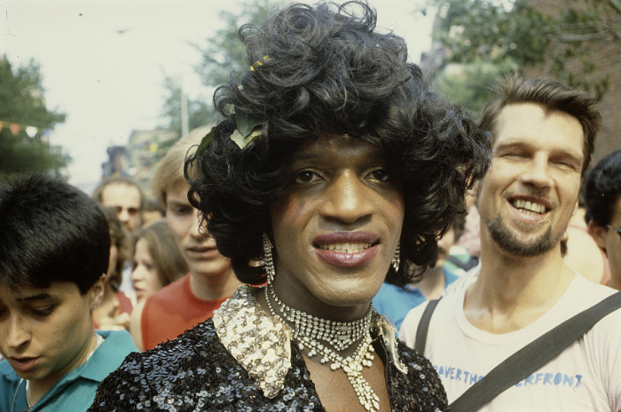 Photographic slide of Marsha P. Johnson at a New York Gay Pride March |  National Museum of African American History and Culture