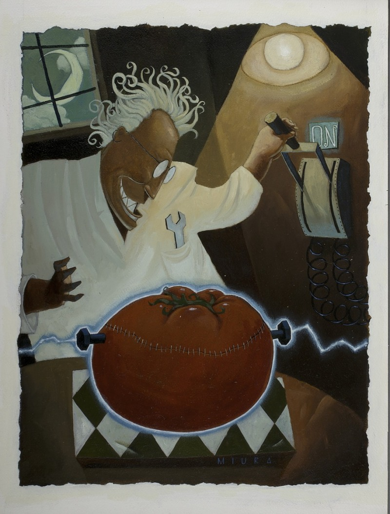 "This oil painting on paper by Talchi ""Terry"" Miura depicts a man in a white lab coat flipping a switch to send a stream of electricity into a giant tomato with bolts and stitches.The use of a tomato in the painting likely refers to the Flavr Savr, the first genetically engineered"