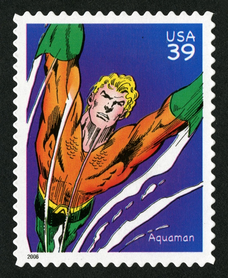 39c Aquaman single (via Smithsonian Institution), Copyright United States Postal Service. All rights reserved.