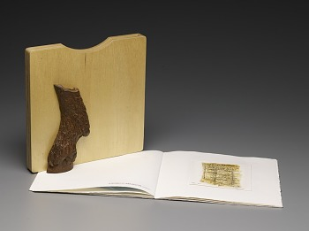 Photo of Artist book: GIF 2 edited by Mark Attwood, Joachim Schönfeldt and Robert Weinek published by The Artists' Press in collaboration with FIG Gallery, 1994. Wooden Slipcase Display. African Art Museum artists' books exhibit research image.