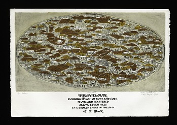 Photo of Artist book: Bruce Onobrakpeya portfolio of art and literature by Bruce Onobrakpeya, 2003. Plate 16 Ibaden. African Art Museum artists' books exhibit research image.