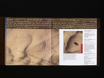 Photo of Artist book: Tunisia by Bessie Smith Moulton, 2003. Sand Tracks. African Art Museum artists' books exhibit research image.