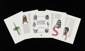 Photo of Artist book: O livro dos seres imaginários by Amir Brito Cadôr and Daniela Maura, 2011.  Display View (spread sheets). African Art Museum artists' books exhibit research image.