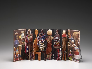 Photo of Artist book: Dolls of Africa by Freya Diamond, 2011. Pop Up. African Art Museum artists' books exhibit research image.