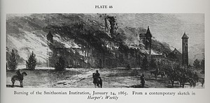 Engraving of the 1865 Fire in the Smithsonian Institution Building