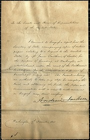 Andrew Jackson's Letter to Congress Regarding the Smithson Bequest