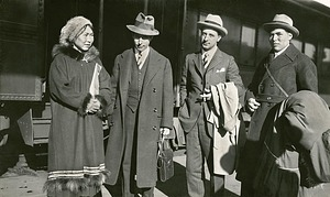 Rasmussen with Others at the Train Station