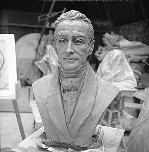 Bust of James Smithson, by Farrar, Richard, 1976, Smithsonian Archives - History Div, 75-6984-12.