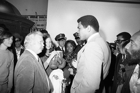 Muhammad Ali, Ellen Roney Hughes, and Carl Scheele in the National Museum of History and Technology