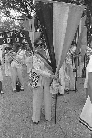 Edith Mayo with 1913 Suffrage March Banner
