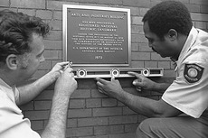Affixing the National Historic Landmark Plaque on A&I