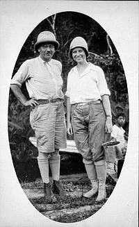 William and Lucile Mann in British Guiana on a collecting trip for the National Zoological Park