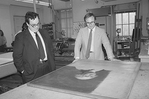 Marvin Sadik Examines George Washington Portrait
