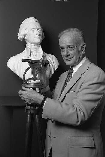 Silvio Bedini with Bust of Jefferson