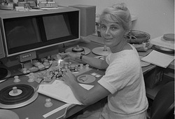 Karen Loveland at work, by Nielsen, Kim, 1985, Smithsonian Archives - History Div, 85-10769-36.