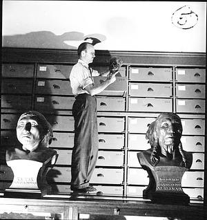 T. Dale Stewart Examining Skull