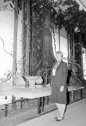 Joan Madden in the South American Hall, National Museum of Natural History
