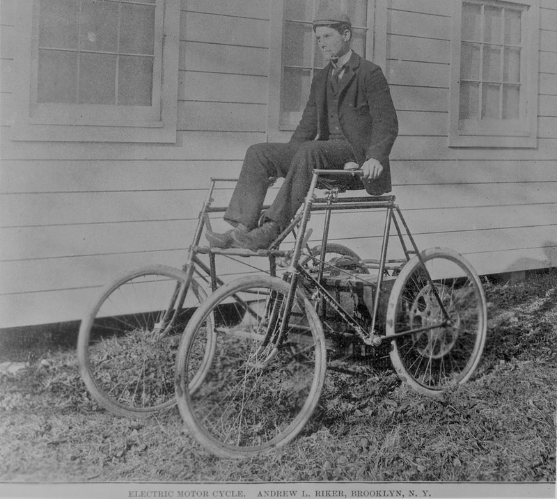Andrew Riker riding his electric quadricycle
