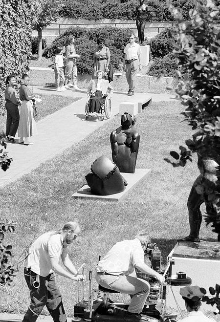 Filming in the Sculpture Garden