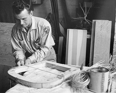Albert Severtson at Work, by Unknown, 1969, Smithsonian Archives - History Div, 94-1514.