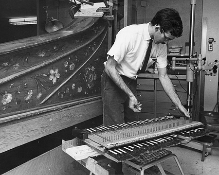 Scott Odell Restoring Harpsichord, by Unknown, 1967, Smithsonian Archives - History Div, 94-1529.