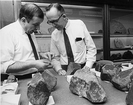Mineralogists at Work, by Unknown, 1969, Smithsonian Archives - History Div, 94-1533.