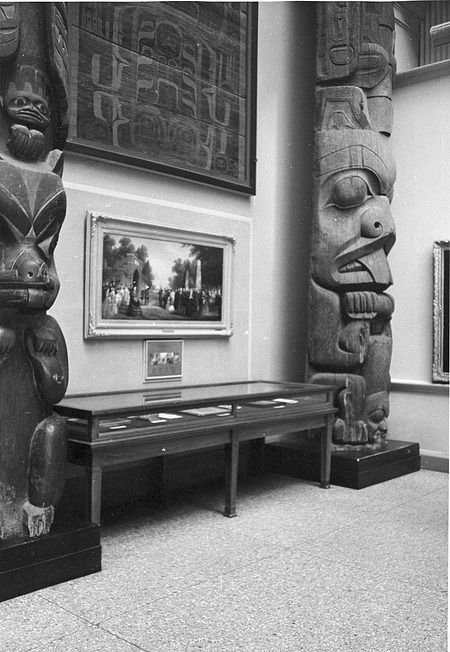 NCFA Exhibit Area with Totems, NHB, by Unknown, 1964, Smithsonian Archives - History Div, 94-4419.