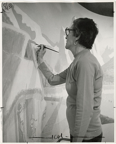 Wilma Riley Paints Exhibit Mural, 1978, Smithsonian Institution Archives, SIA RU000371 [94-8335].