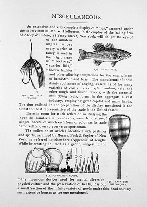 """Engravings of Collection of Articles Such as Black Bass and Lord Baltimore """"Flies"""", Gymnasium Goods and Lawn Tennis Racquet"""