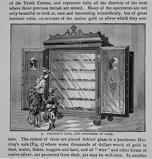 Engraving of Herring's Safe Containing Specimens of Gold