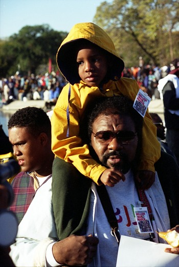 Son on Father's Shoulders at Million Man March