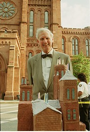 Secretary I. Michael Heyman with Birthday Cake in Shape of SIB