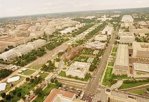 Aerial View of the Mall Filled with People and Tents for 150th Birthday Party on the Mall